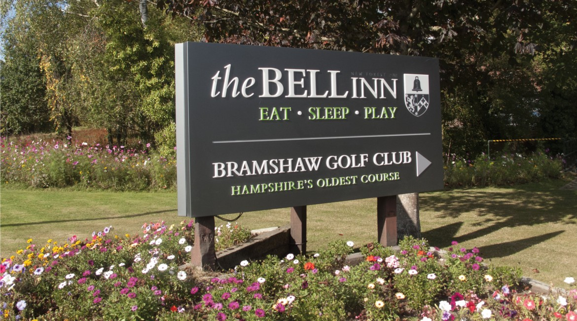 V-mount plate and post LED lit sign for The Bell Inn and Bradshaw Golf club