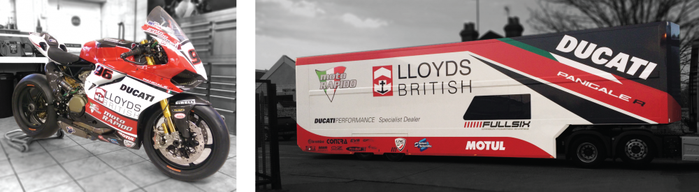 Printed and cut vinyl applied Ducati team vehicles for Isle of Man TT