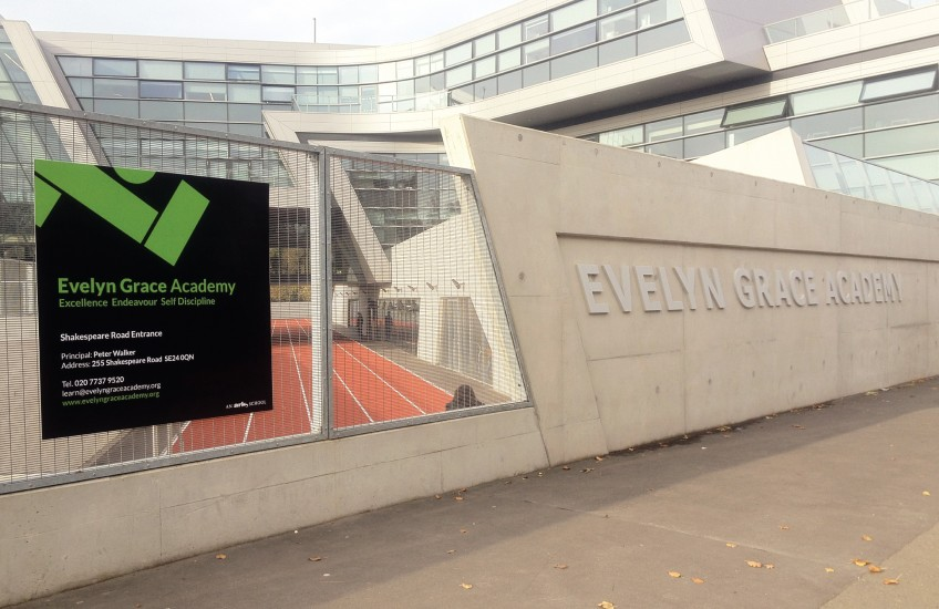 Exterior signage for Evelyn Grace Academy