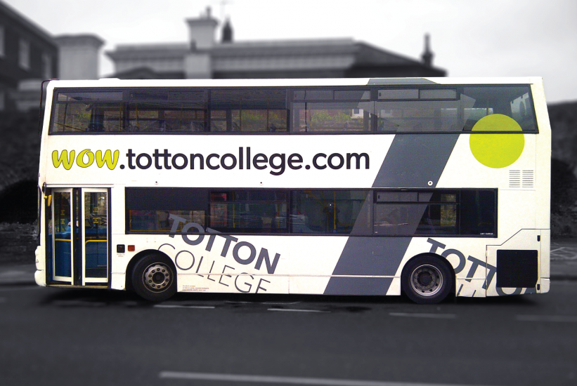 Bus graphics with contra vision for Xelabus Totton College