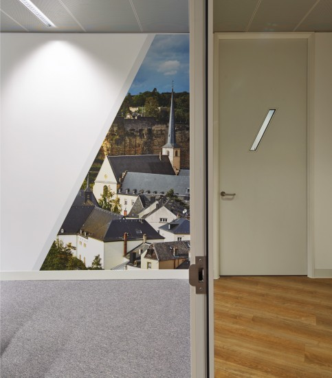 Completed office refurbishment with bespoke detailing and printed wall paper
