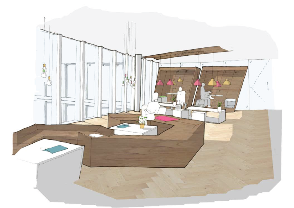Concept sketch of office refurbishment