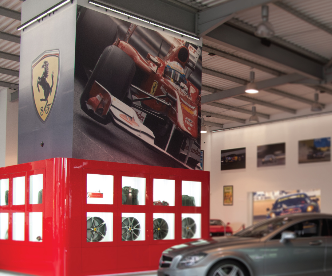 Digitally printed Ferrari wall graphics