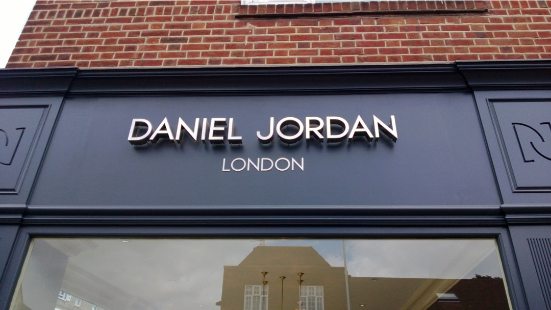 Exterior signage for shop fitting
