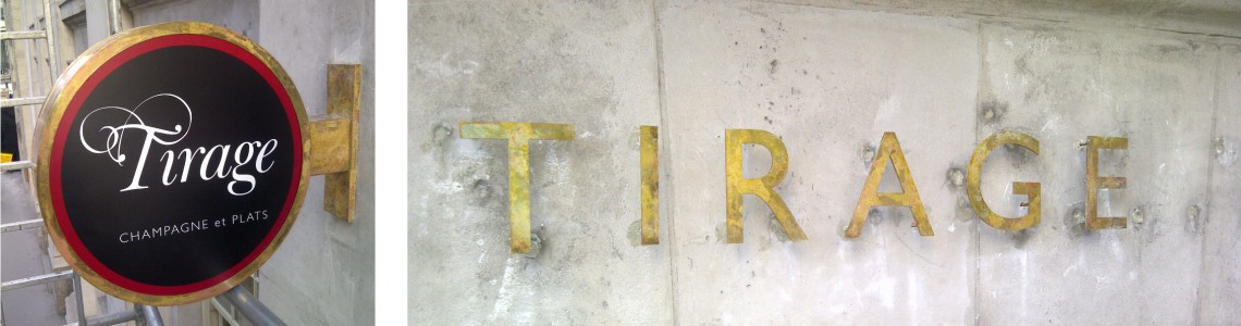 Aged-brass-effect-projecting-sign