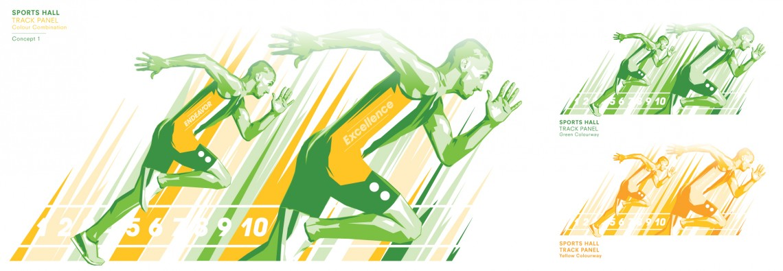 Bespoke graphic design concept for Evelyn Grace Academy sports hall