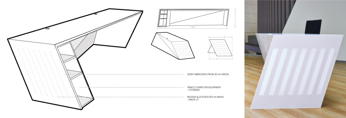 Drawing and finished bespoke reception desk