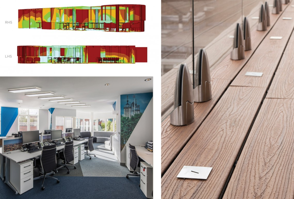 Bespoke lighting for office and roof terrace area
