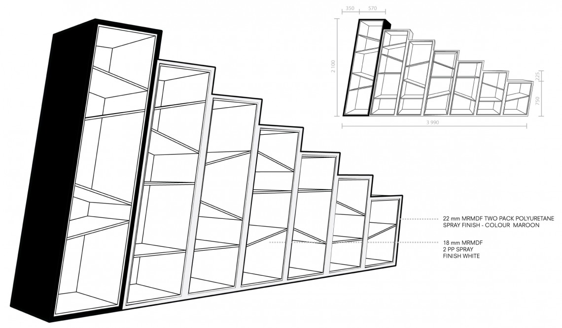 Drawing of bespoke shelving for office refurbishment project