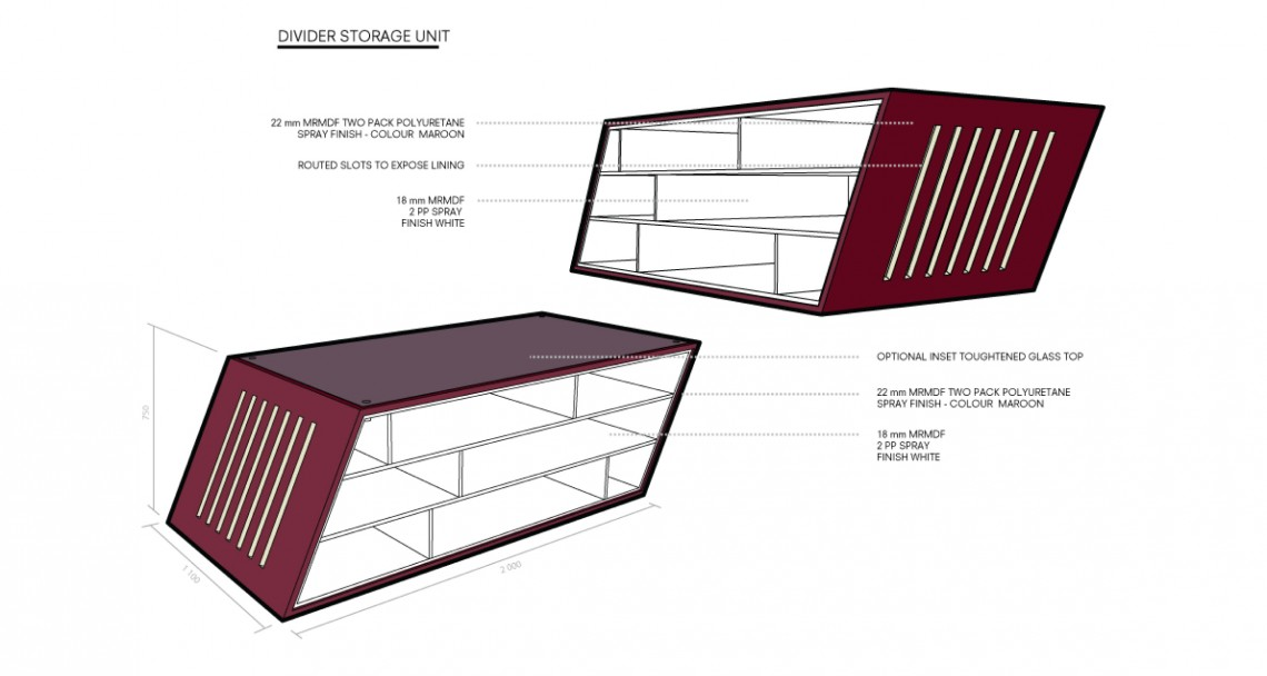 Drawing of bespoke office storage unit