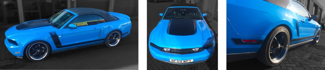 Blue-vehicle-wrap-and-matt-detailing-to-mustang