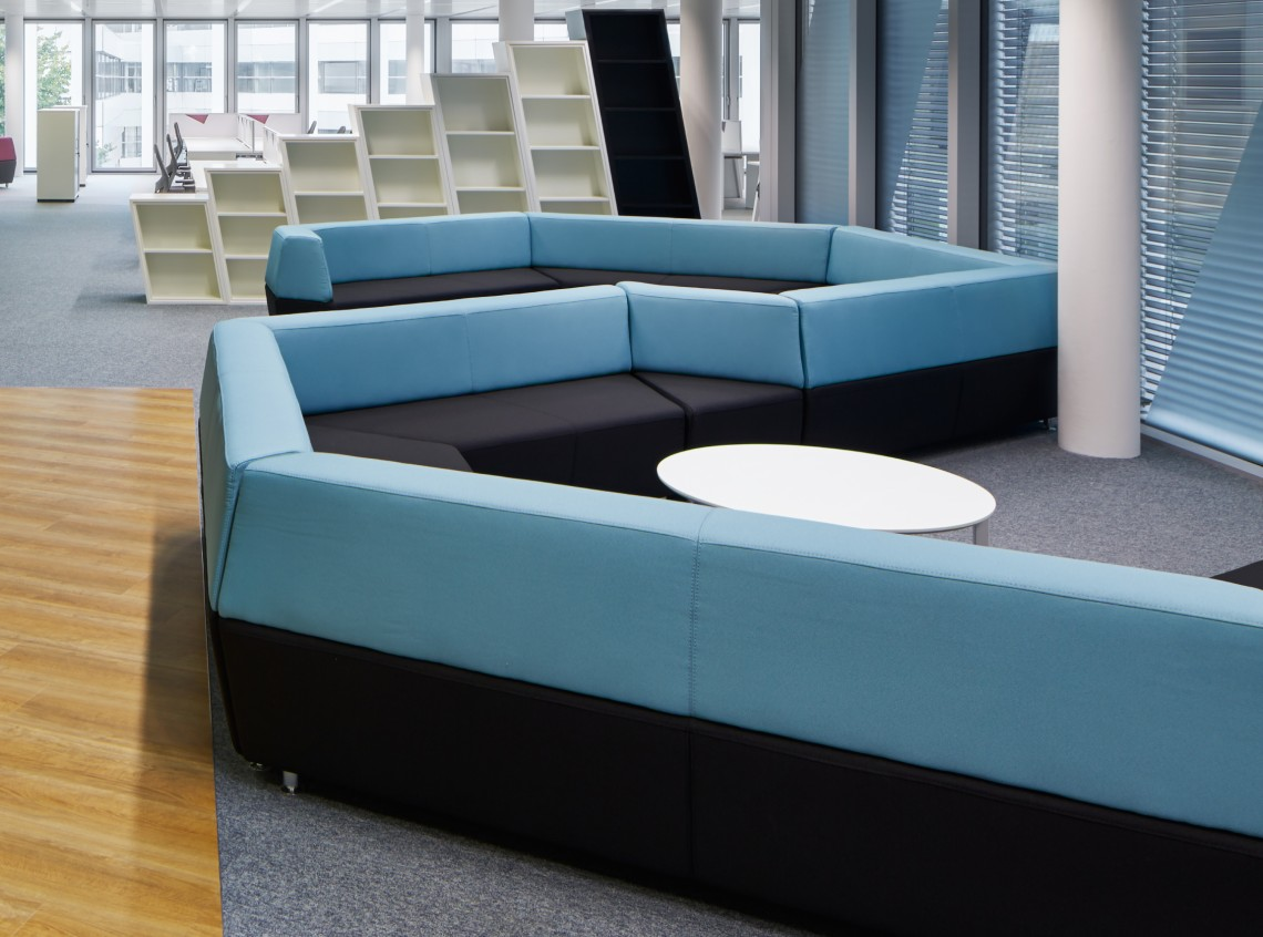 Breakout seating and bespoke office shelving units