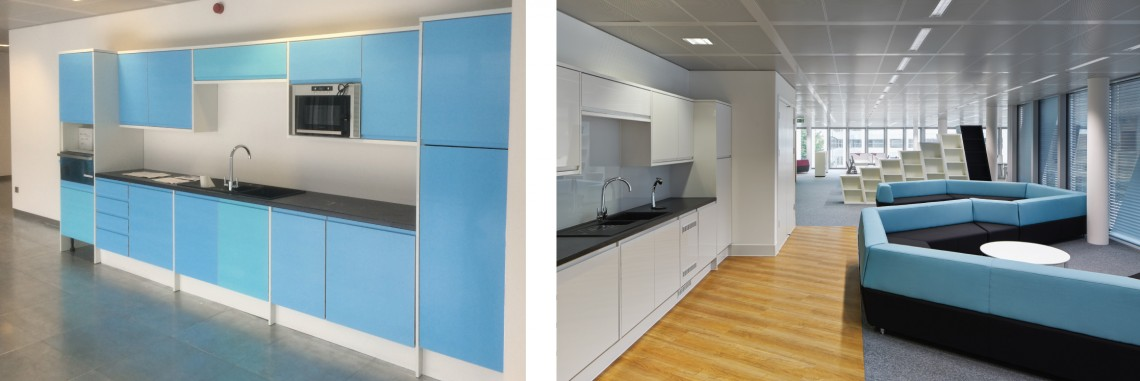 Breakout space before and after for office refurbishment