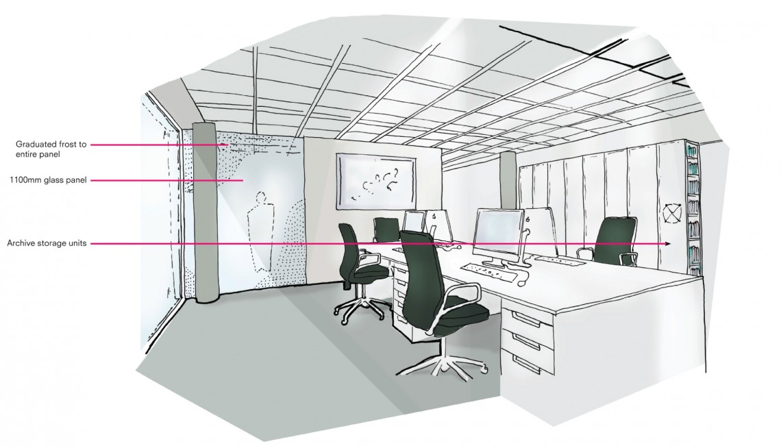 concept sketch for office refurbishment