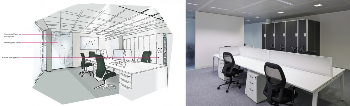 Concept sketch for office refurbishment project