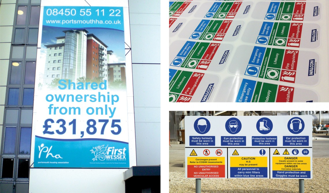 Construction site hoarding signs and printed laminated safety stickers