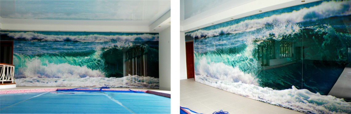 Printed indoor swimming pool window graphics