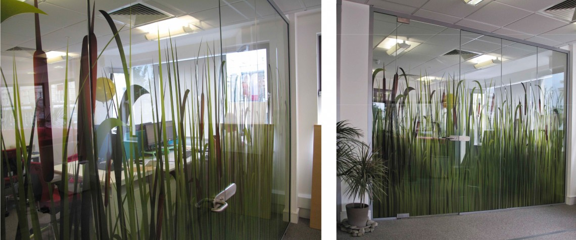 Printed optically clear film for office glass