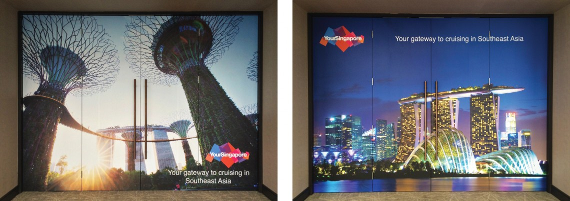 Printed door graphics for Singapore tourist board