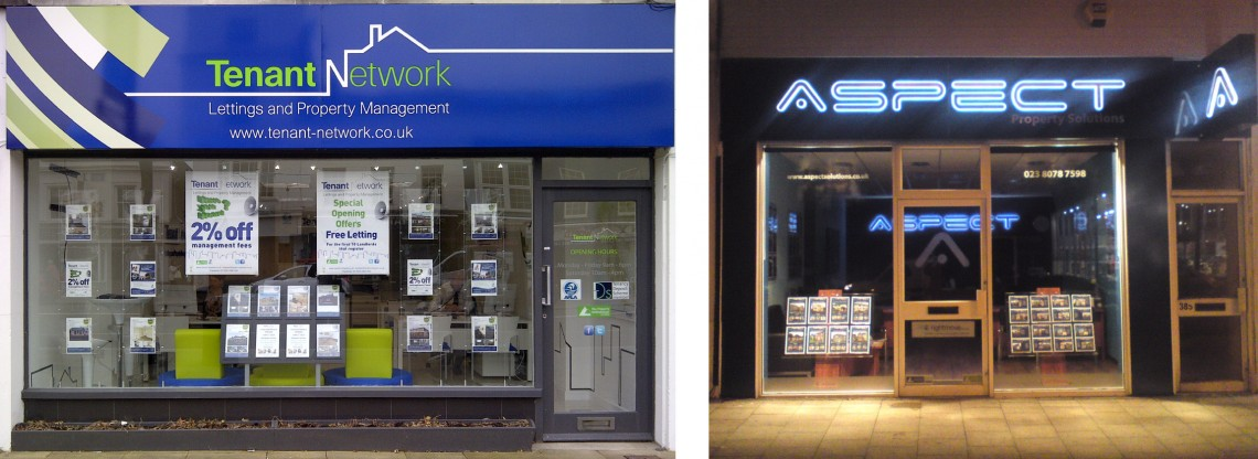 Exterior and interior shop fitting for estate agents
