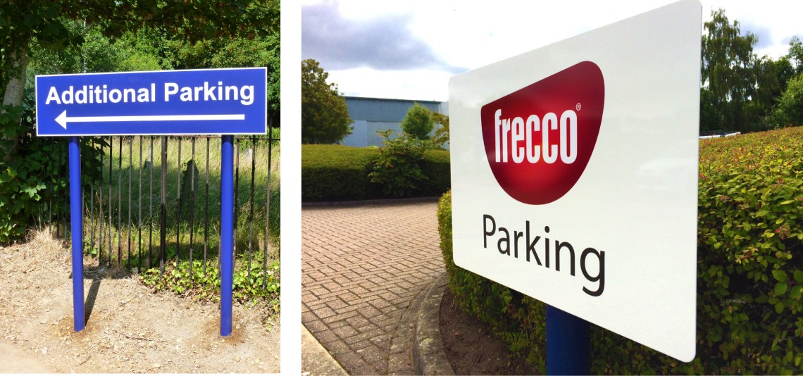 Exterior-parking-signs-on-posts