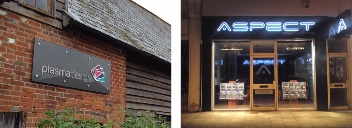 Exterior signage with stainless steel lettering for Plasma Design and external lit signage for Aspect estate agents
