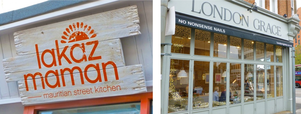 External-retail-signs-Lakaz-Maman-and-London-Grace