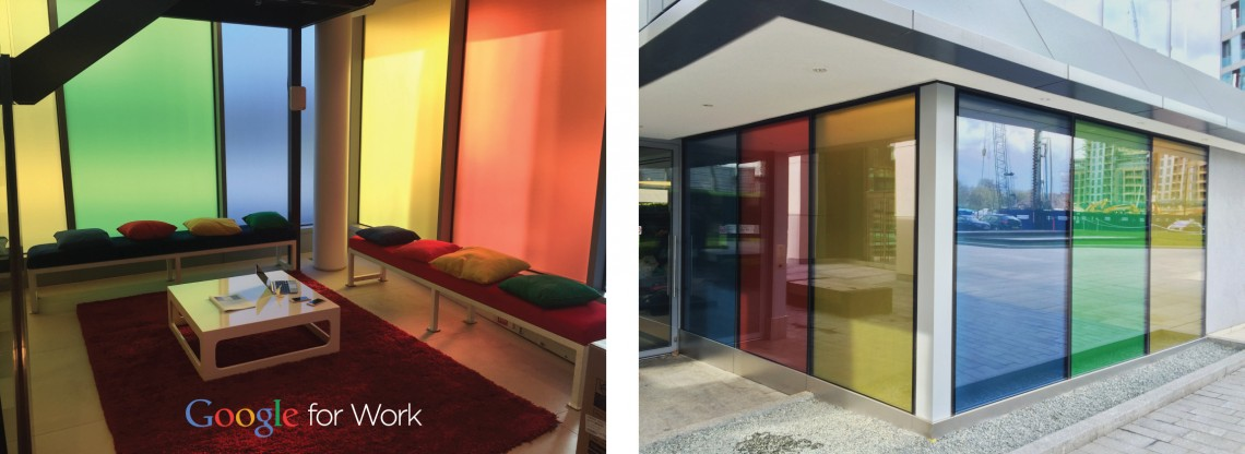 Google for work tinted colour window graphics
