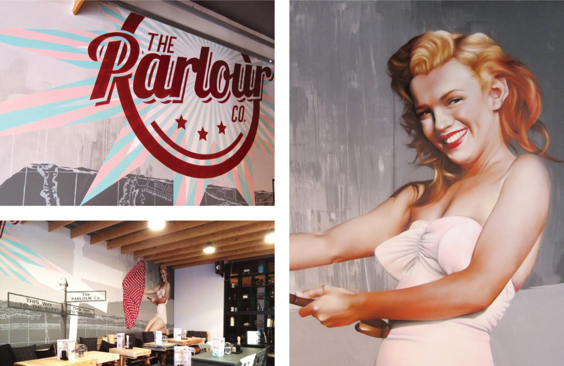 Hand painted mural for restaurant