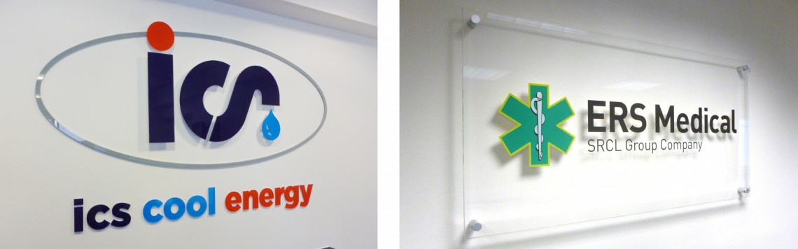 Internal Acrylic wall signs for reception
