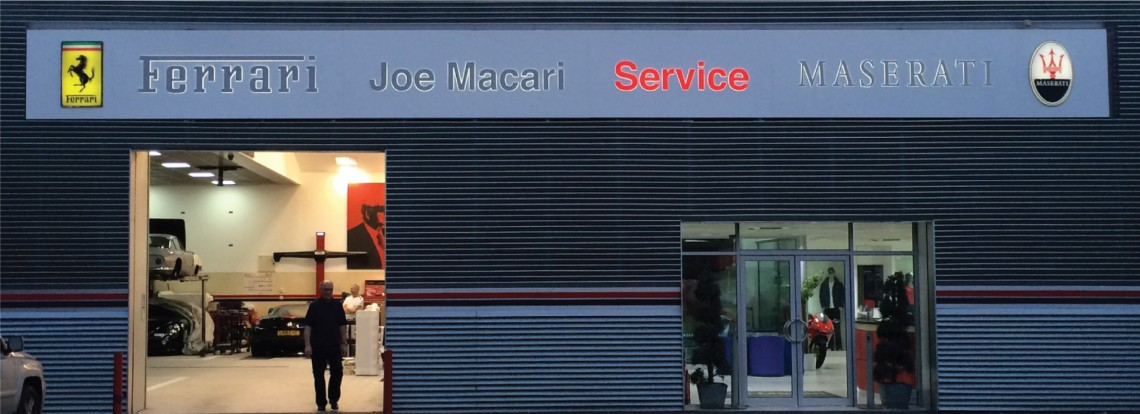 Backlit service signage for Joe Macari Performance Cars
