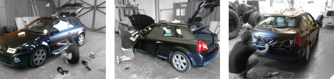 Full vehicle wrap in matt black with black gloss graphics applied