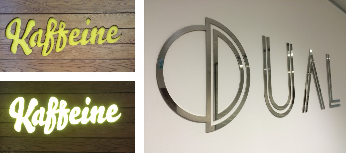 Internal LED lit signage for Kaffine London and polished stainless steel sign for Dual
