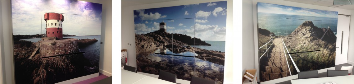 Digitally printed laminated wall graphics for office