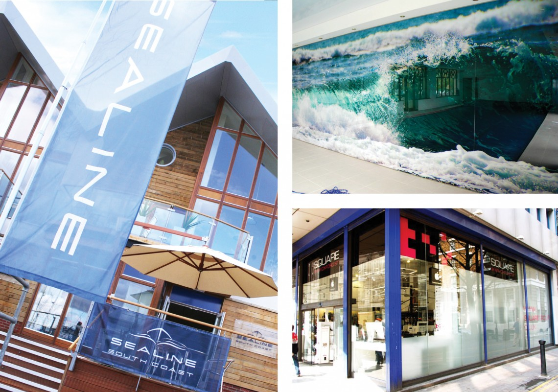 Large format digitally printed banners and forestay flag for Sealine; Decorbrand printed window film