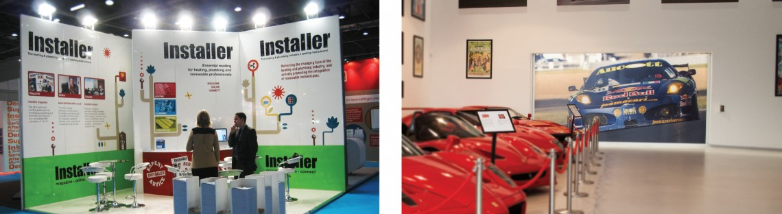 Large format digitally printed exhibition stand and digitally printed wall covering for Joe Macari