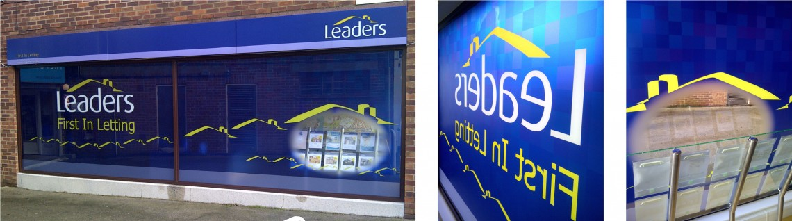Leaders estate agents shop front window graphics