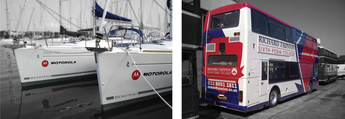 Motorola yacht graphics and Xelabus bus graphics with colour wrap