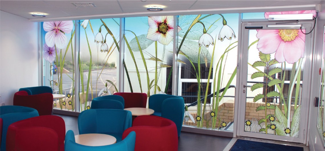 Flower prints on window film in NHS hospital