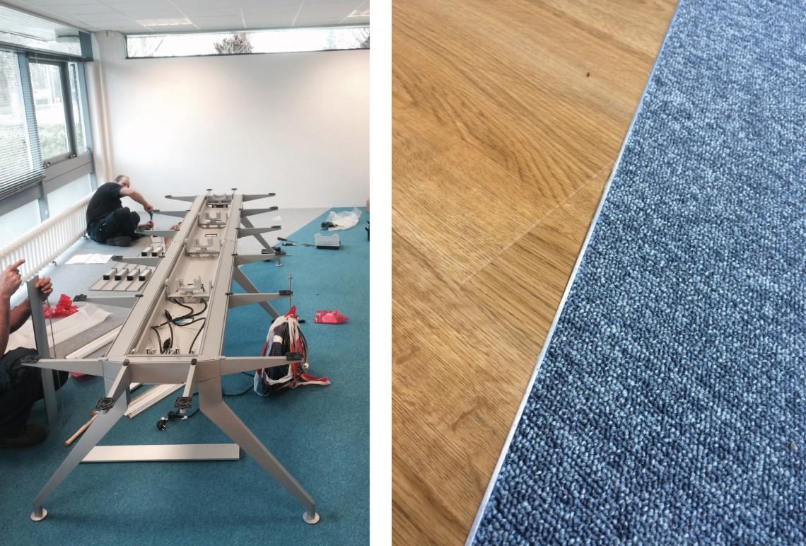 Office furniture under construction and finished flooring for office refurbishment