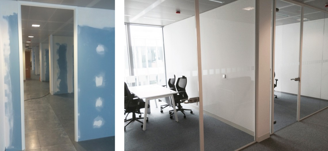 Partitioning for office refurbishment under construction