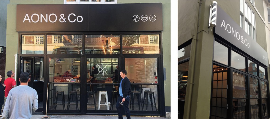 Outdoor-business-sign-for-AONO-barbers