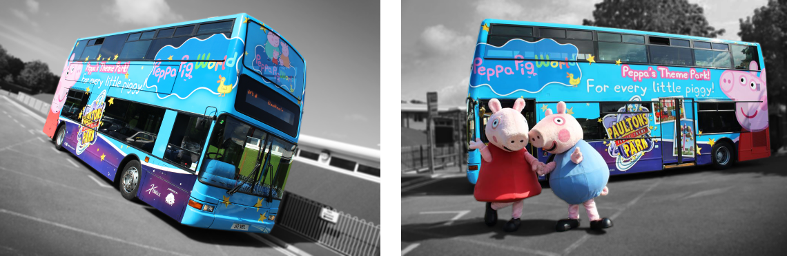 Digitally printed full bus wrap for Peppa Pig World, Paultons Park.