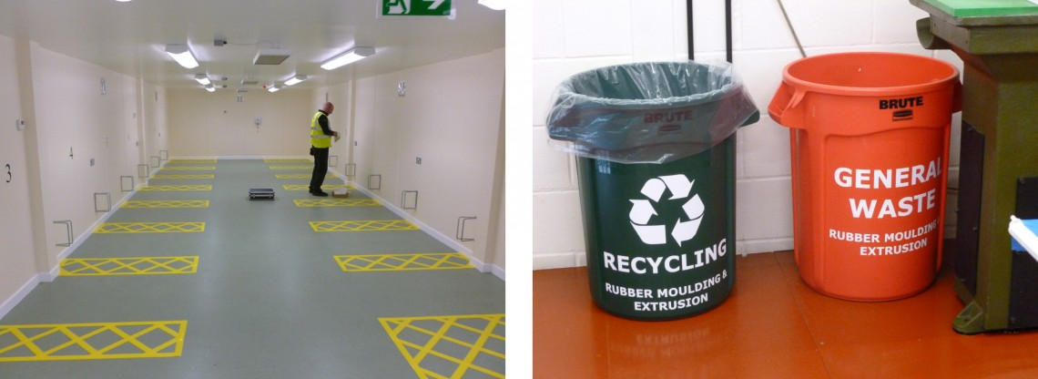 Permanent floor graphics and waste graphics