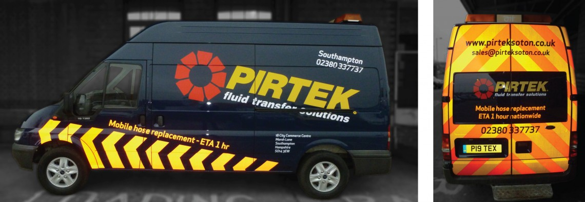 reflective van graphics for Pirtek