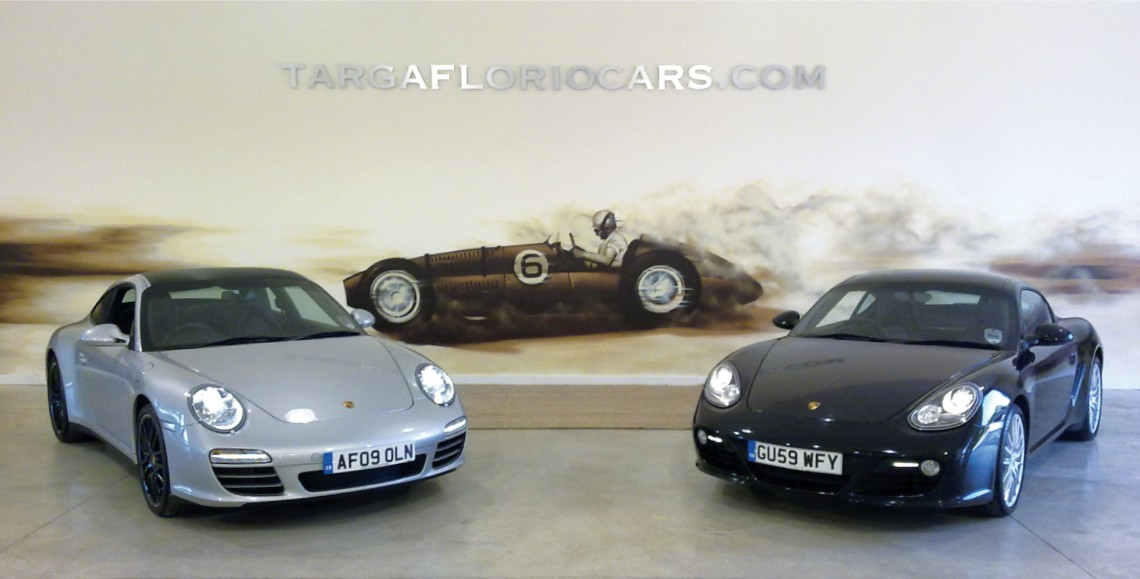 Porsche showroom spray painted wall graphics