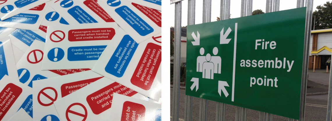 Marina printed safety sticker and printed fire assembly point sign