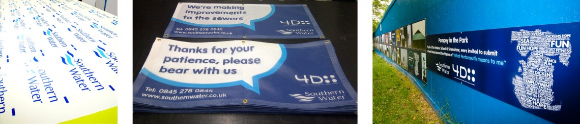 Various printed graphics, banners and hoarding for Southern Water