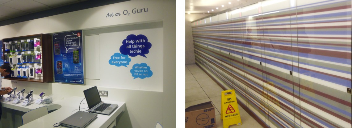 Interior shop fitting for O2 and St Pancras toilet graphics