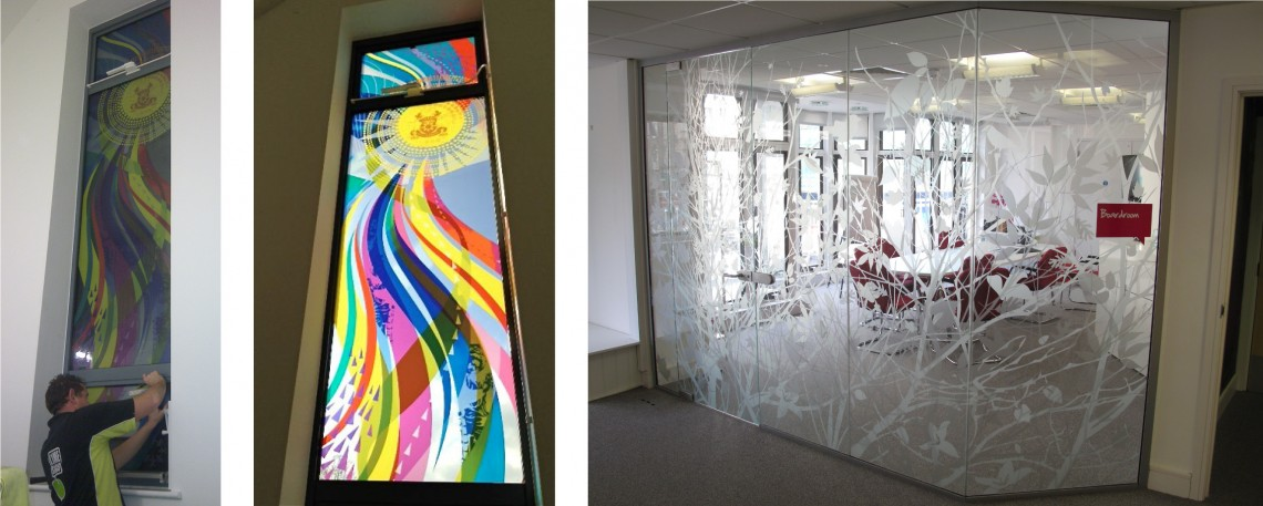 Stained glass window graphic and office etched vinyl installation